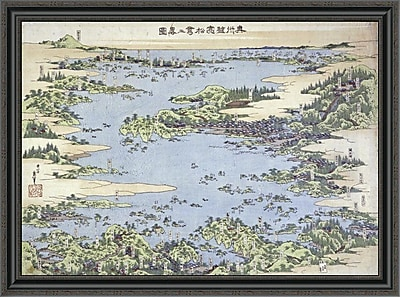 East Urban Home 'Map of Shiogama and Matsushima in Oshu' Framed Print; 30'' H x 40'' W x 1.5'' D