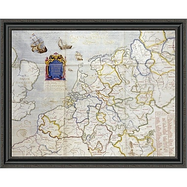 East Urban Home 'Watercolour Map of Northern Europe' Framed Print; 27'' H x 34'' W x 1.5'' D