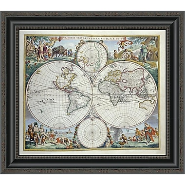 East Urban Home 'Map of the World' Framed Print; 18'' H x 20'' W x 1.5'' D