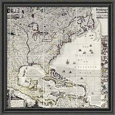 East Urban Home 'A Map of the British Empire in America' Framed Print; 34'' H x 34'' W x 1.5'' D