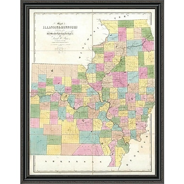 East Urban Home 'Map of Illinois & Missouri; 1839' Framed Print; 44'' H x 34'' W x 1.5'' D
