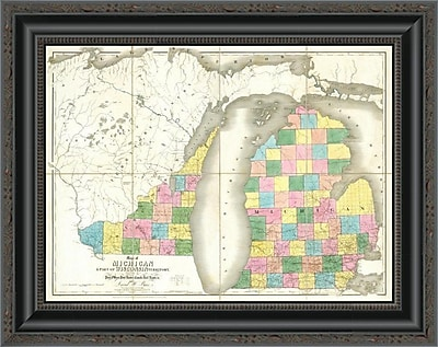 East Urban Home 'Map of Michigan & Part of Wisconsin Territory; 1839' Framed Print