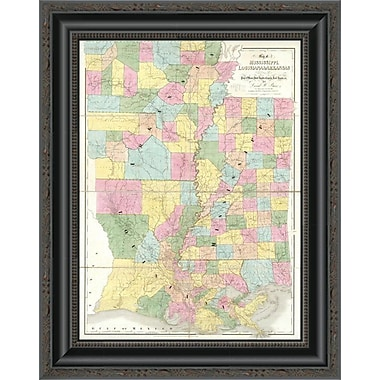 East Urban Home 'Map of Mississippi; Louisiana and Arkansas; 1839' Framed Print