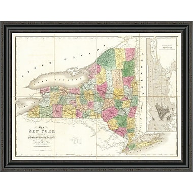 East Urban Home 'Map of New York; 1839' Framed Print; 34'' H x 34'' W x 1.5'' D