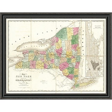 East Urban Home 'Map of New York; 1839' Framed Print; 40'' H x 40'' W x 1.5'' D