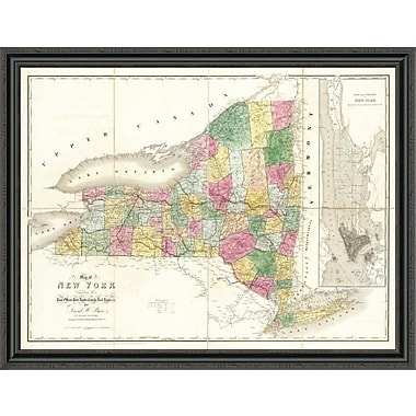 East Urban Home 'Map of New York; 1839' Framed Print; 44'' H x 44'' W x 1.5'' D