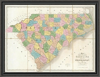 East Urban Home 'Map of North and South Carolina; 1839' Framed Print; 34'' H x 44'' W x 1.5'' D