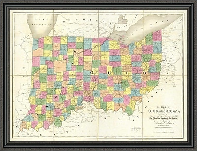 East Urban Home 'Map of Ohio and Indiana; 1839' Framed Print; 34'' H x 44'' W x 1.5'' D