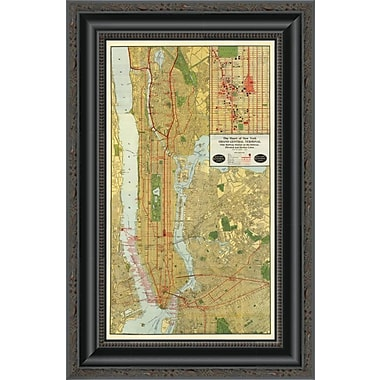 East Urban Home 'Heart of New York; 1918' Framed Print; 26'' H x 13'' W x 1.5'' D
