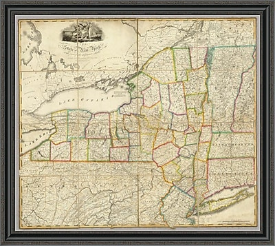 East Urban Home 'State of New York w/ Part of the Adjacent States; 1818' Framed Print