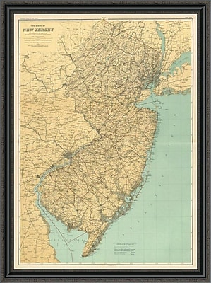 East Urban Home 'New Jersey State Map; 1888' Framed Print; 32'' H x 33'' W x 1.5'' D