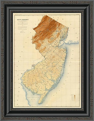 East Urban Home 'New Jersey State Map; 1888' Framed Print; 20'' H x 16'' W x 1.5'' D