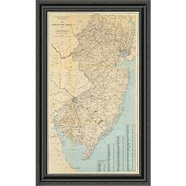 East Urban Home 'The State of New Jersey; 1878' Framed Print; 34'' H x 21'' W x 1.5'' D