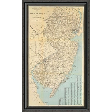 East Urban Home 'The State of New Jersey; 1878' Framed Print; 44'' H x 27'' W x 1.5'' D