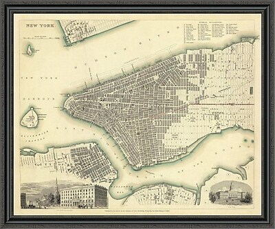 East Urban Home 'New York; NY; 1840' Framed Print; 33'' H x 44'' W x 1.5'' D