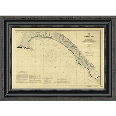East Urban Home 'Drake's Bay; California; 1883' Framed Print; 34'' H x 20'' W x 1.5'' D