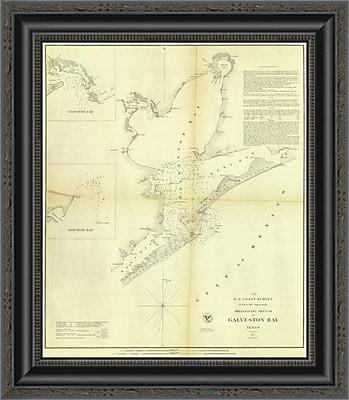East Urban Home 'Galveston Bay; Texas; 1852' Framed Print; 29'' H x 17'' W x 1.5'' D
