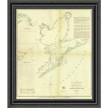 East Urban Home 'Galveston Bay; Texas; 1852' Framed Print; 32'' H x 22'' W x 1.5'' D