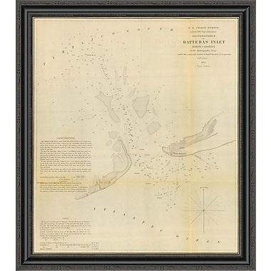 East Urban Home 'Hatteras Inlet; North Carolina; 1853' Framed Print; 15'' H x 30'' W x 1.5'' D