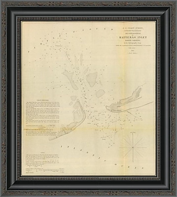 East Urban Home 'Hatteras Inlet; North Carolina; 1853' Framed Print; 34'' H x 18'' W x 1.5'' D