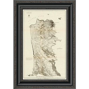 East Urban Home 'San Francisco Peninsula; 1869' Framed Print; 40'' H x 14'' W x 1.5'' D