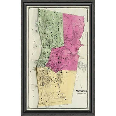 East Urban Home 'Yonkers; New York; 1868' Framed Print; 44'' H x 28'' W x 1.5'' D