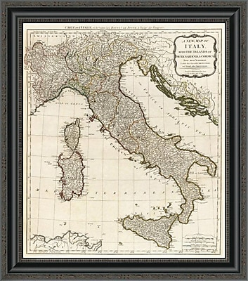 East Urban Home 'A New Map of Italy w/ the Islands of Sicily; Sardinia & Corsica; 1790' Framed Print