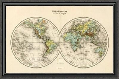 East Urban Home 'Mappe Monde; Hypsometrique; 1892' Framed Print; 16'' H x 44'' W x 1.5'' D