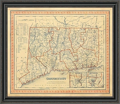East Urban Home 'Connecticut; 1846' Framed Print; 16'' H x 34'' W x 1.5'' D