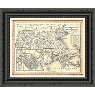 East Urban Home 'Massachusetts; Rhode Island; 1846' Framed Print; 27'' H x 20'' W x 1.5'' D