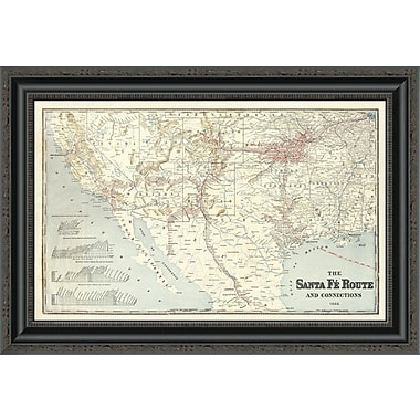 East Urban Home 'Sante Fe Route and Connections; 1888' Framed Print; 15'' H x 26'' W x 1.5'' D