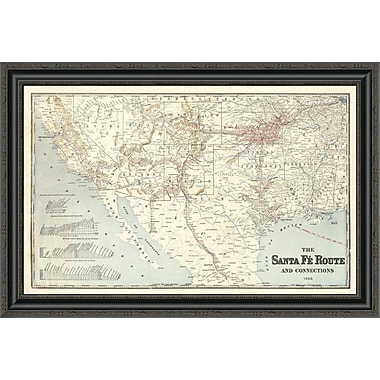 East Urban Home 'Sante Fe Route and Connections; 1888' Framed Print; 20'' H x 34'' W x 1.5'' D