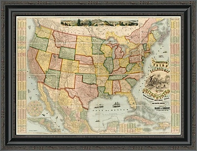 East Urban Home 'American Union Railroad Map of the United States; 1871' Framed Print