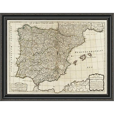 East Urban Home 'A New Map of the Kingdoms of Spain and Portugal; 1790' Framed Print