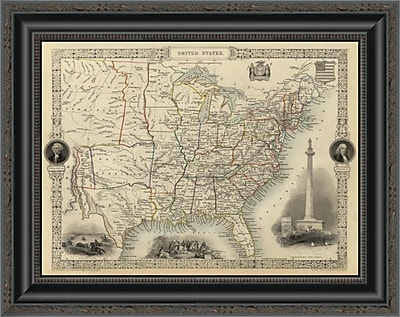East Urban Home 'United States; 1851' Framed Print; 34'' H x 20'' W x 1.5'' D