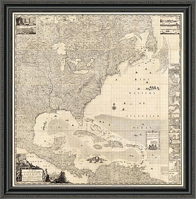East Urban Home 'Composite: British Empire in America; 1733' Framed Print; 17'' H x 33'' W x 1.5'' D