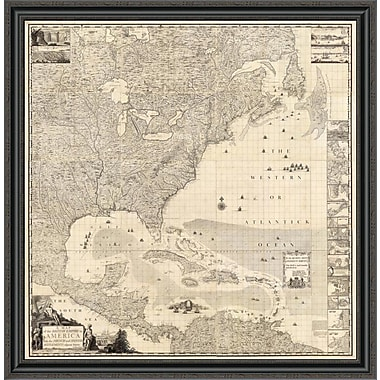East Urban Home 'Composite: British Empire in America; 1733' Framed Print; 21'' H x 39'' W x 1.5'' D