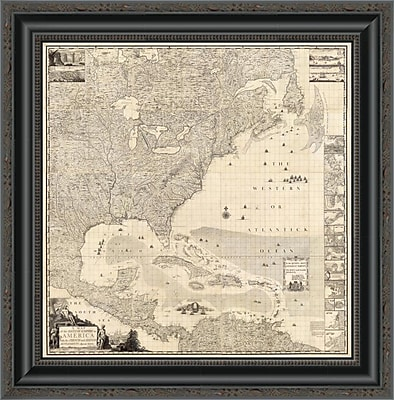 East Urban Home 'Composite: British Empire in America; 1733' Framed Print; 35'' H x 20'' W x 1.5'' D