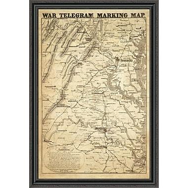 East Urban Home 'War Telegram Marking Map; 1862' Framed Print; 34'' H x 30'' W x 1.5'' D