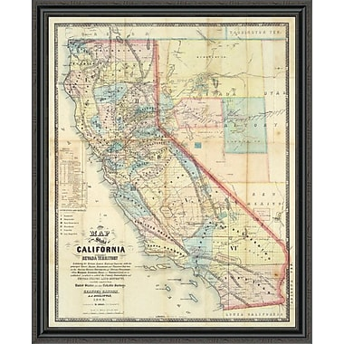 East Urban Home 'New Map of the State of California and Nevada Territory; 1863' Framed Print