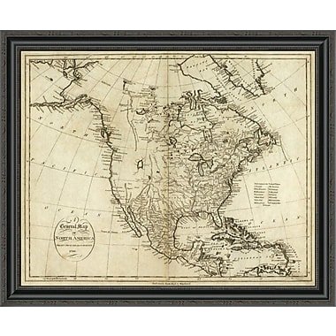 East Urban Home 'Map of North America; 1796' Framed Print; 26'' H x 34'' W x 1.5'' D
