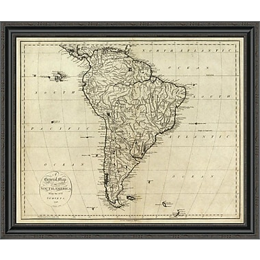 East Urban Home 'Map of South America; 1796' Framed Print; 17'' H x 34'' W x 1.5'' D