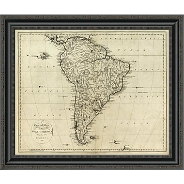 East Urban Home 'Map of South America; 1796' Framed Print; 44'' H x 26'' W x 1.5'' D