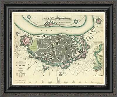East Urban Home 'Antwerp; Belgium; 1832' Framed Print; 16'' H x 20'' W x 1.5'' D