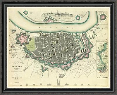 East Urban Home 'Antwerp; Belgium; 1832' Framed Print; 27'' H x 34'' W x 1.5'' D