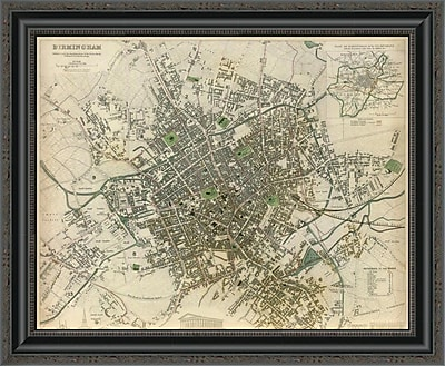 East Urban Home 'Birmingham; England; 1839' Framed Print; 35'' H x 26'' W x 1.5'' D
