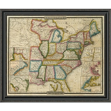 East Urban Home 'United States; 1833' Framed Print; 34'' H x 34'' W x 1.5'' D