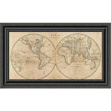 East Urban Home 'The World; 1825' Framed Print; 16'' H x 26'' W x 1.5'' D