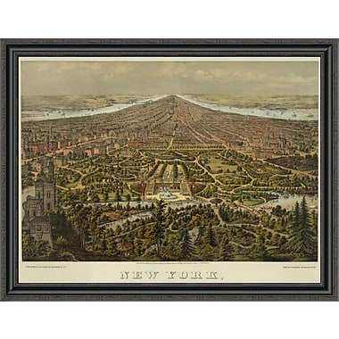 East Urban Home 'Birds-Eye View of Manhattan; New York' Framed Print; 40'' H x 40'' W x 1.5'' D