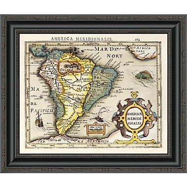 East Urban Home 'Map of South America' Framed Print; 17'' H x 20'' W x 1.5'' D